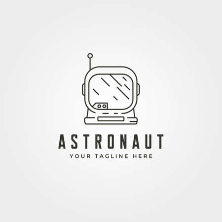 line art astronaut head logo vector symbol illustration design