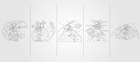 set bundled of astronaut vector line art illustration template design, astronaut baseball, kitchen, surf and woodwork illustration design