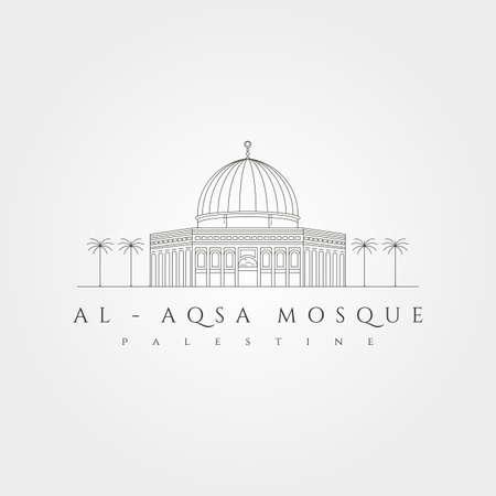 al aqsa mosque minimal logo vector symbol illustration design, al-isra wal-mi'raj masjidil al-aqsa line art design 向量圖像