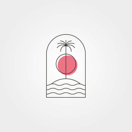 palm tree island line logo vector symbol with sunset illustration design, minimal emblem design