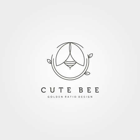 nature cute bee creative logo vector symbol illustration design