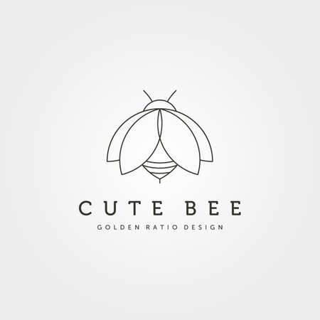 cute bee creative icon logo vector symbol illustration design, insect logo minimalist design