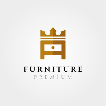 creative furniture logo vector symbol illustration design, letter a with crown logo design