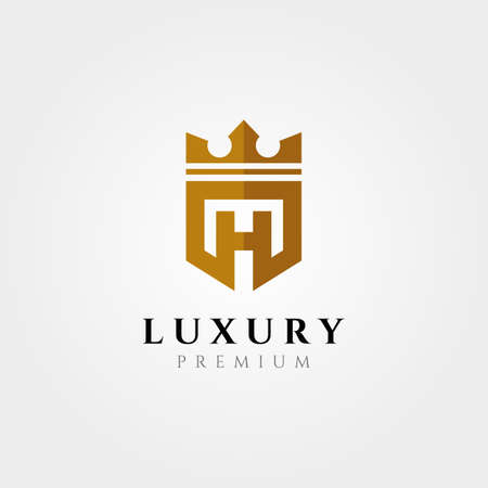 letter h initial logotype with crown vector symbol illustration design