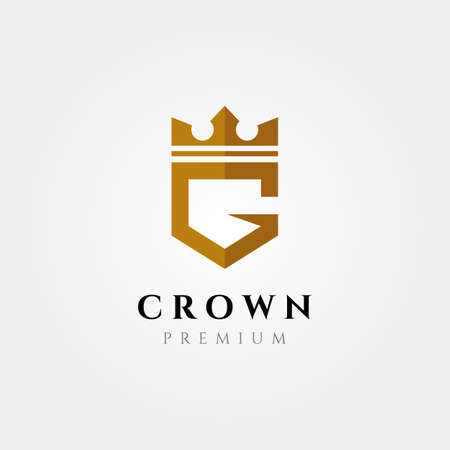 initial logo letter G with crown vector symbol illustration design