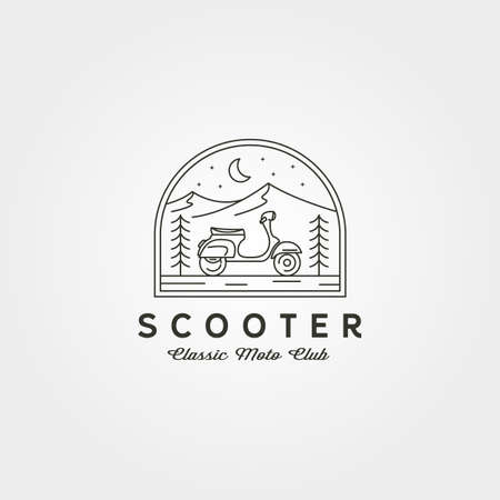 line art scooter logo vector with adventure view illustration design 向量圖像