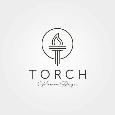 minimal torch icon logo vector line art symbol illustration design, company logo design 向量圖像