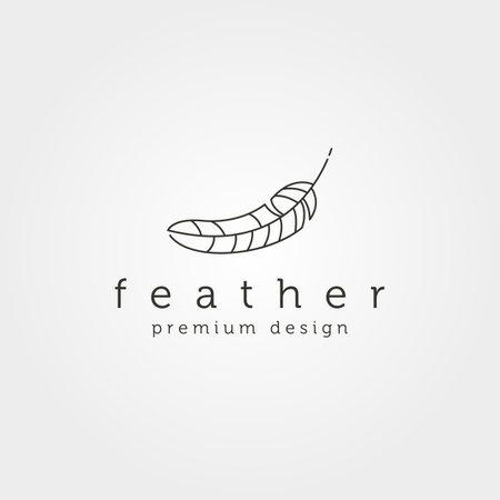 line art feather icon logo vector minimalist symbol illustration design