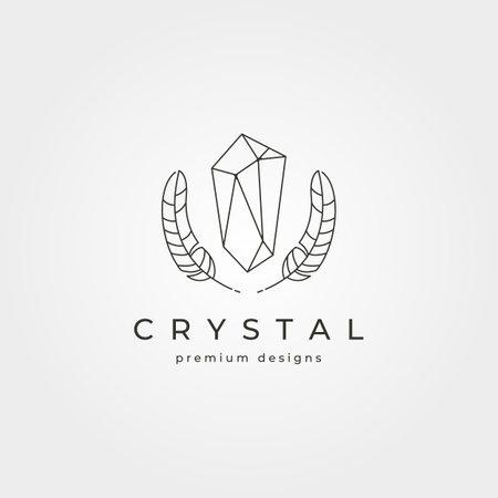 crystal stone and feathers logo vector symbol line art minimalist illustration design