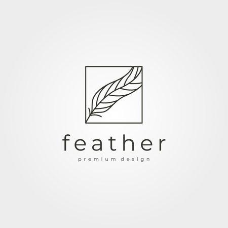 vector of feather line art logo minimal symbol illustration design 向量圖像