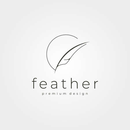 minimalist feather logo vector for business company illustration design