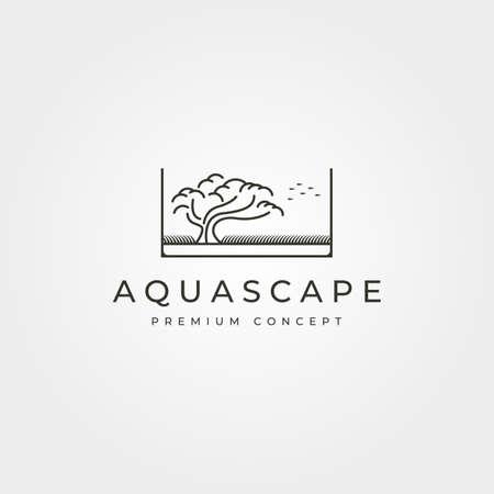 aquascape bonsai logo vector line art symbol illustration design, aquarium logo design