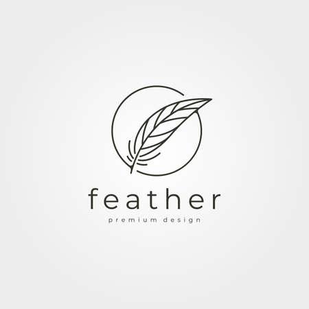 feather circle logo vector line art minimal symbol illustration design 向量圖像