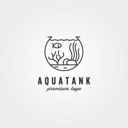 aquarium tank logo vector symbol illustration design, nature biota logo design 向量圖像