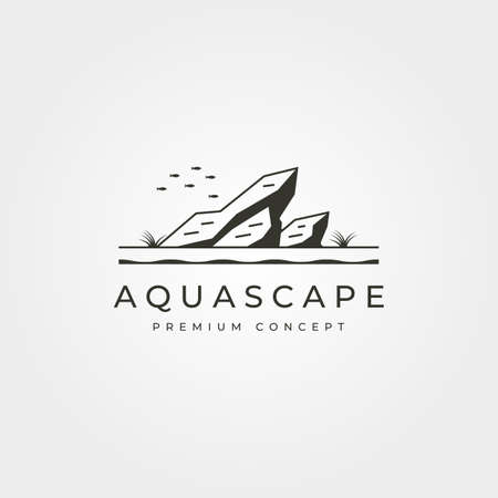 vector of aquascape aquarium logo vintage symbol illustration design