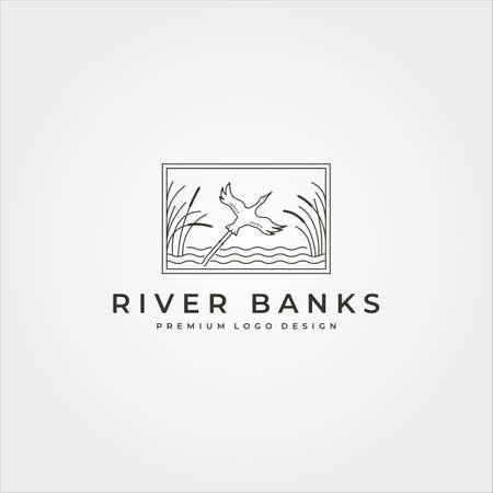 goose river banks logo vector line art symbol with frame illustration design