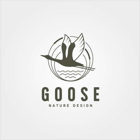 flying goose river bank logo vector symbol illustration design, vintage goose logo design