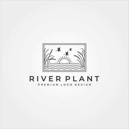 river plant and landscape vector logo line art symbol illustration design