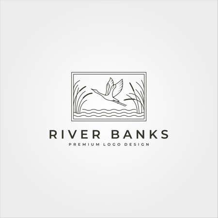 vector of goose in river plant logo design, line art flying swan logo design 向量圖像