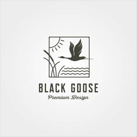 goose and river plant line art logo vector symbol illustration design