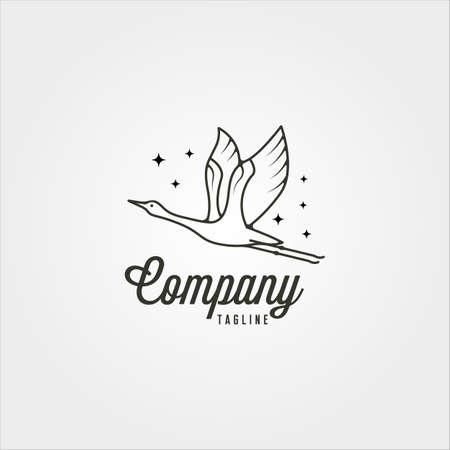 line art flying goose minimal logo vector symbol illustration design