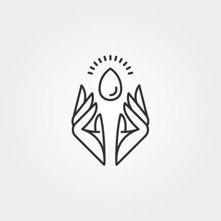 hand and water drop vector logo symbol illustration design, water care line art minimalist logo design 向量圖像