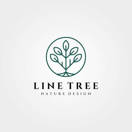 line art tree logo vector symbol illustration design, circle tree logo design