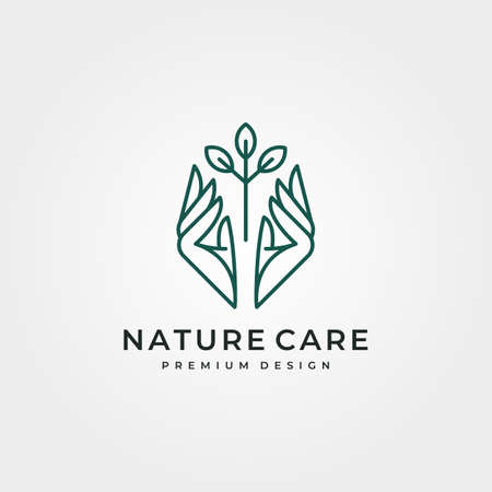 nature tree care logo vector design, line art hand and tree logo vector symbol illustration design
