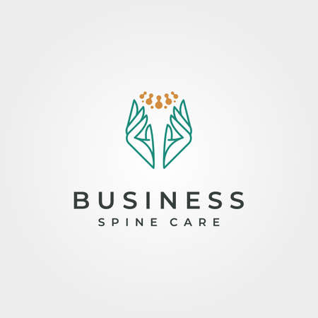 spine clinic abstract logo vector with hand symbol illustration design