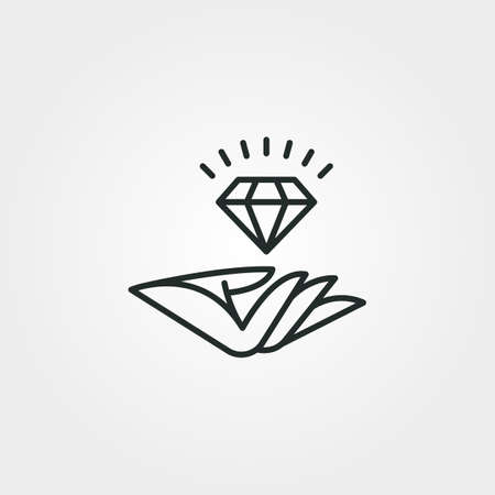 logo of diamond and hand line art vector symbol illustration design