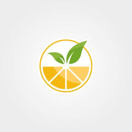 abstract orange juice logo vector design, nature fresh drink symbol illustration design