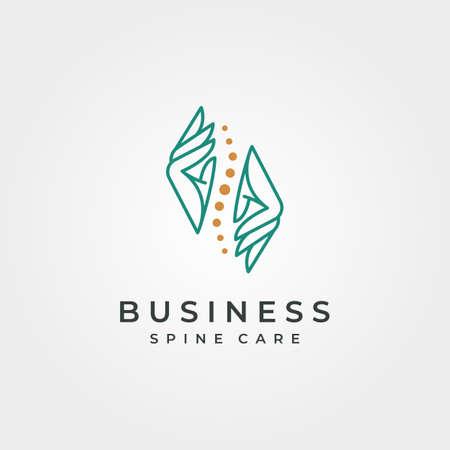 hand and spine logo vector abstract symbol illustration design, spine clinic minimal logo design 向量圖像