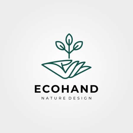 vector of hand and tree logo symbol line art illustration design