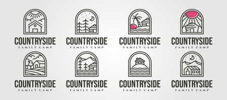 set of vector cottage line art logo minimal illustration design, line art cabin logo vector design 向量圖像