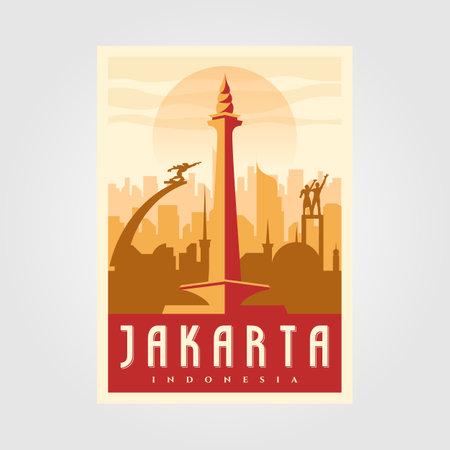 jakarta skyline landmark poster vintage vector minimal symbol background illustration design