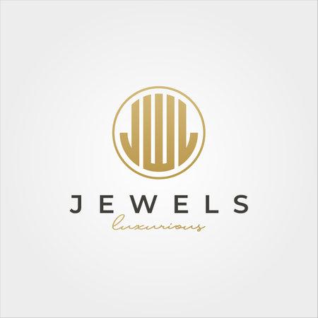 luxurious jewel initial logotype vector symbol illustration design, J W L letters initial logo design