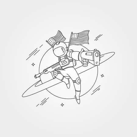 vector of american astronaut with gun background symbol illustration design 向量圖像