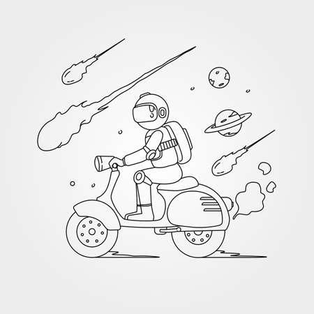 vector of astronaut riding scooter illustration design, line art astronaut design