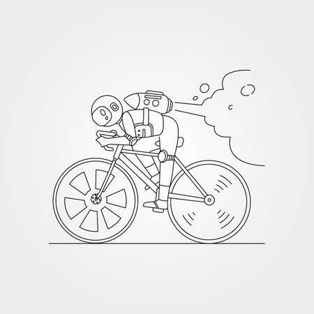 astronaut riding bicycle line art vector symbol illustration design, astronaut sketch idea