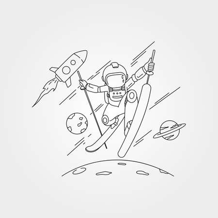 astronaut skiing on space with planet and rocket vector symbol illustration design