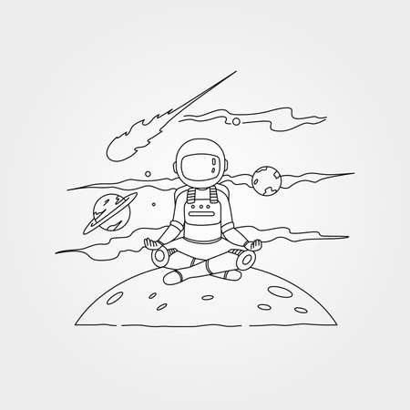 astronaut meditation on the planet vector symbol illustration design, astronaut yoga illustration
