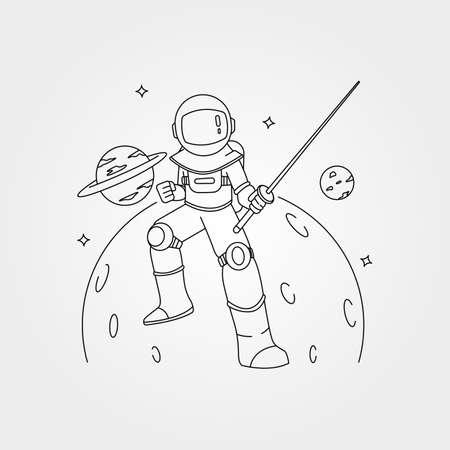 samurai astronaut line art vector symbol with planet background illustration design, astronaut with sword illustration 向量圖像
