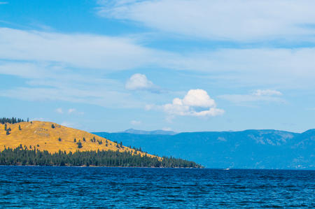 golden hills on shore of Flathead Lake, Montana with mountains in the distance