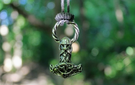 Scandinavian amulet in the form of the Thors hammer - Mj?lnir. Color version.