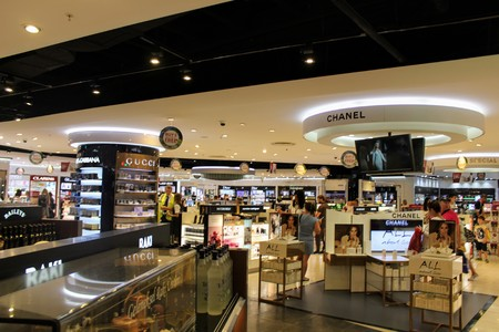 large group of business people: Duty Free Store at Antalya Airport - July 2017.