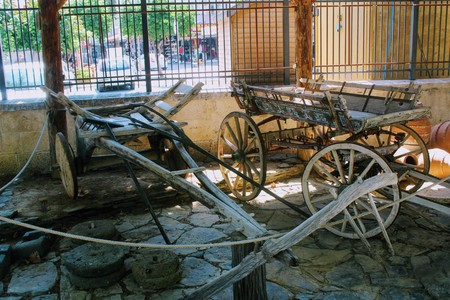 A traditional horse cart in the courtyard of the Alanya Archaeological Museum (Turkey).
