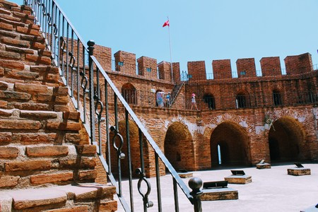 The upper level of the Red Tower is the main fortification of the city (Alanya, Turkey).