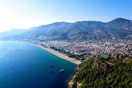 View from the mountain on Cleopatra Beach (Alanya, Turkey). Stock Photo