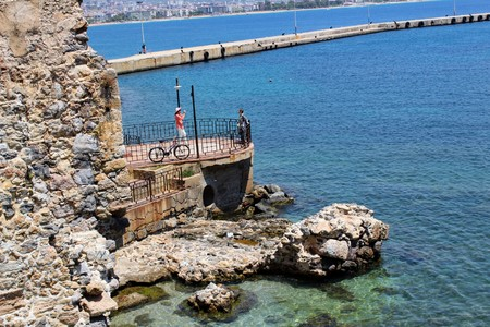 Observation platform on the embankment near the Red Tower (Alanya, Turkey). Editorial