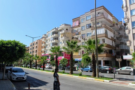 Alanya, Turkey, July 2017: the central street of the city with a lively traffic on which many hotels are located.